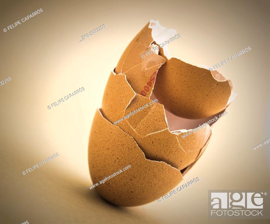 Scattered Broken Egg Shells Isolated In White Background