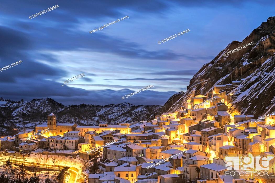 Stock Photo: Small Dolomites Lucane, overlooking the village, Pietrapertosa, Potenza district, Basilicata, Italy, Europe.