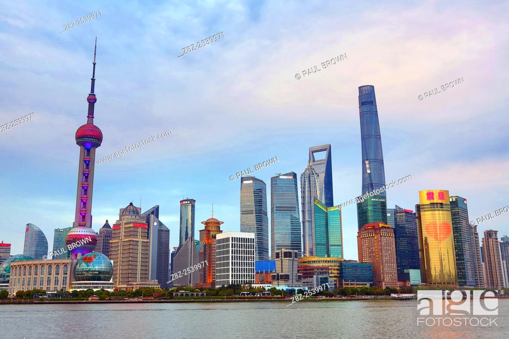 Stock Photo: General view of the Pudong city skyline in Shanghai with the Oriental Pearl TV Tower, Shanghai, China.