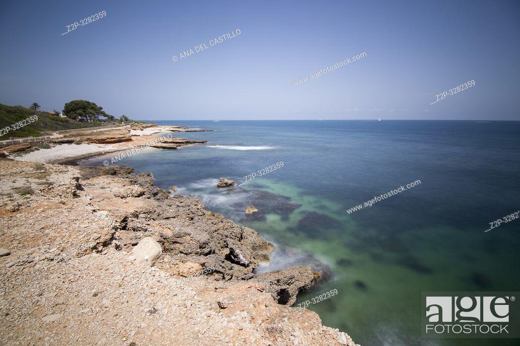 Stock Photo: Las Rotas coast nature reserve in Denia ALicante Spain.