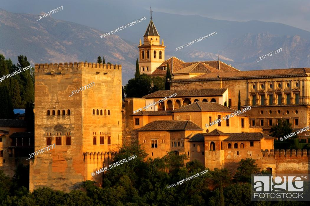 Stock Photo: The Alhambra Palace from Mirador San Nicolas in the Albayzin Granada Spain.