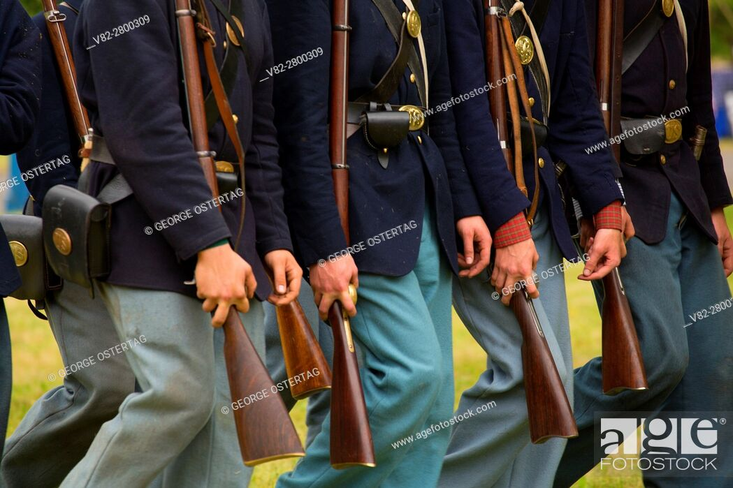 Stock Photo: Union soldiers on the march, Civil War Reenactment, Willamette Mission State Park, Oregon.