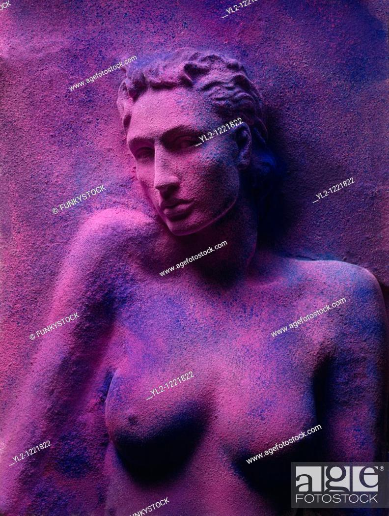 Stock Photo: Nude women manaquin torso covered with coloured powder.