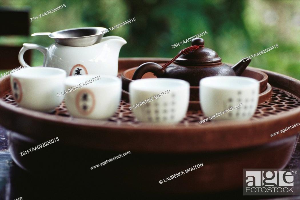 Stock Photo: Chinese tea set on tea tray.