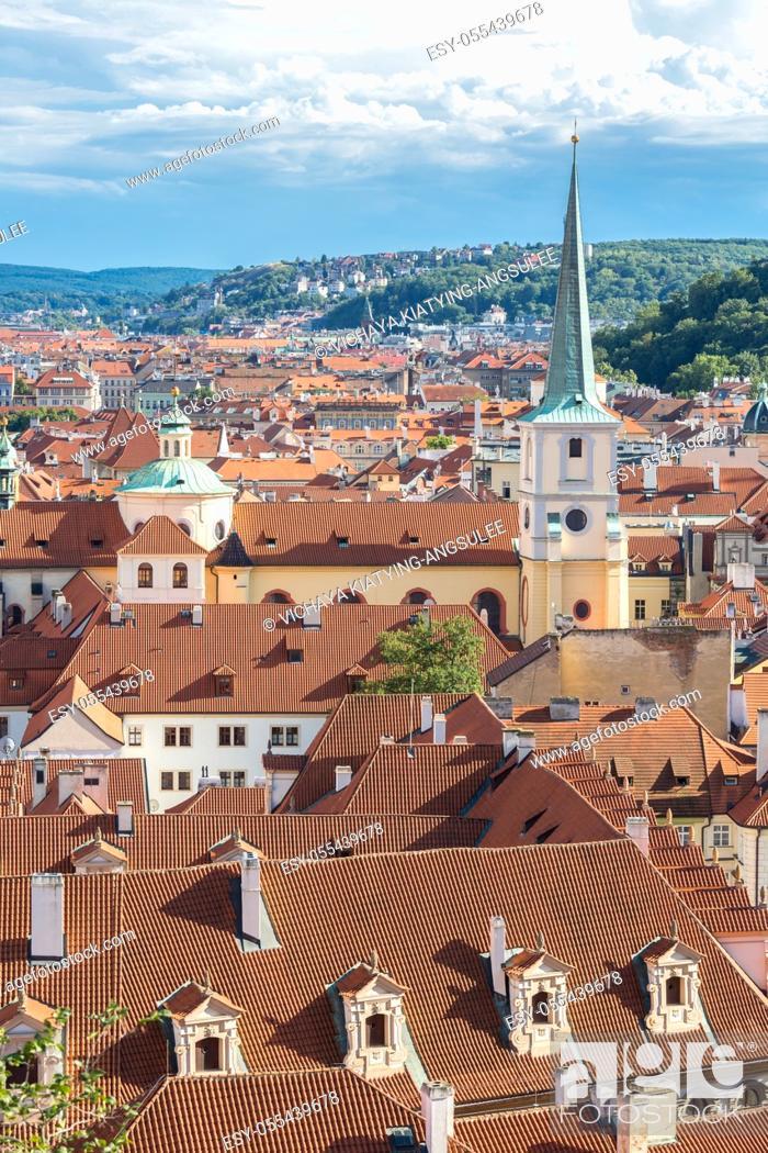 Stock Photo: Aerial view of Prague cityscape, Czech Republic.
