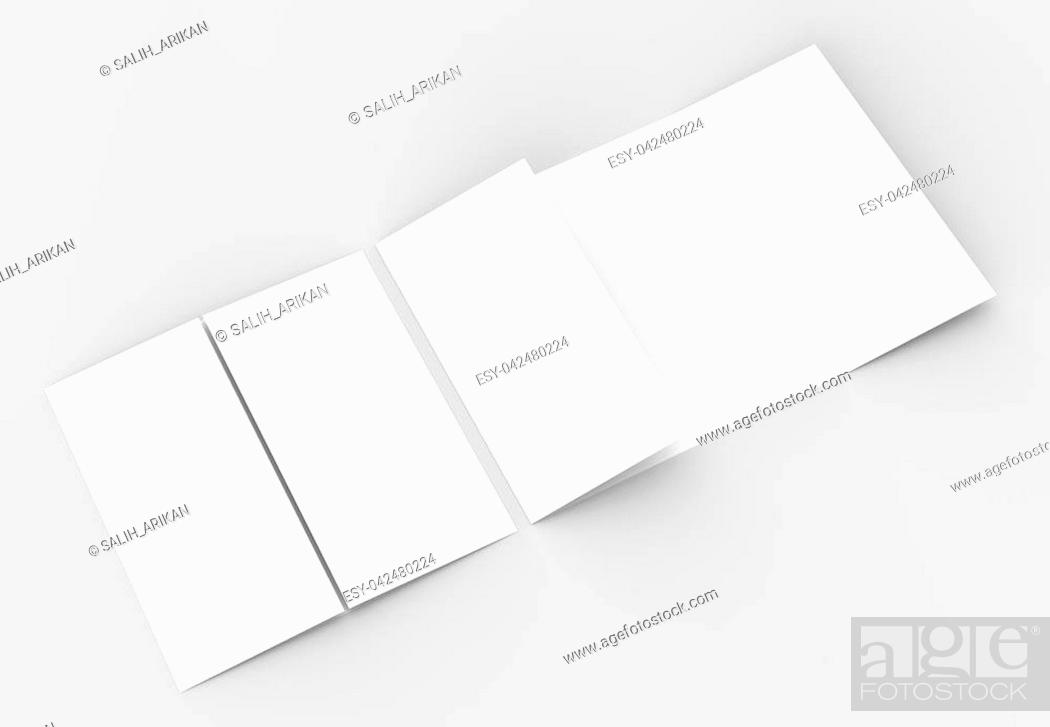 Stock Photo: Square gate fold brochure mock up isolated on soft gray background. 3D illustrating.