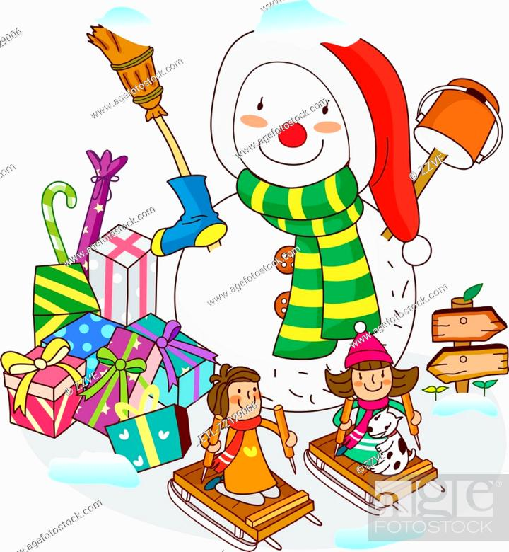 Stock Photo: Two girls sitting on sleds with a snowman near Christmas presents.