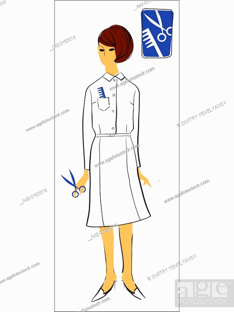 Stock Photo: A retro inspired illustration of a female beautician.