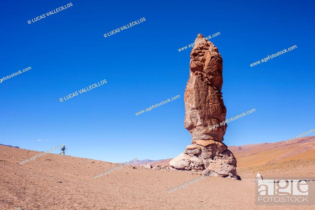 Stock Photo: Monjes de Pacana (Monks of Pacana), Volcanic rock formation, pyroclastic bombs, Altiplano, Puna, in Salar de Aguas Calientes, and near Salar de de Tara.