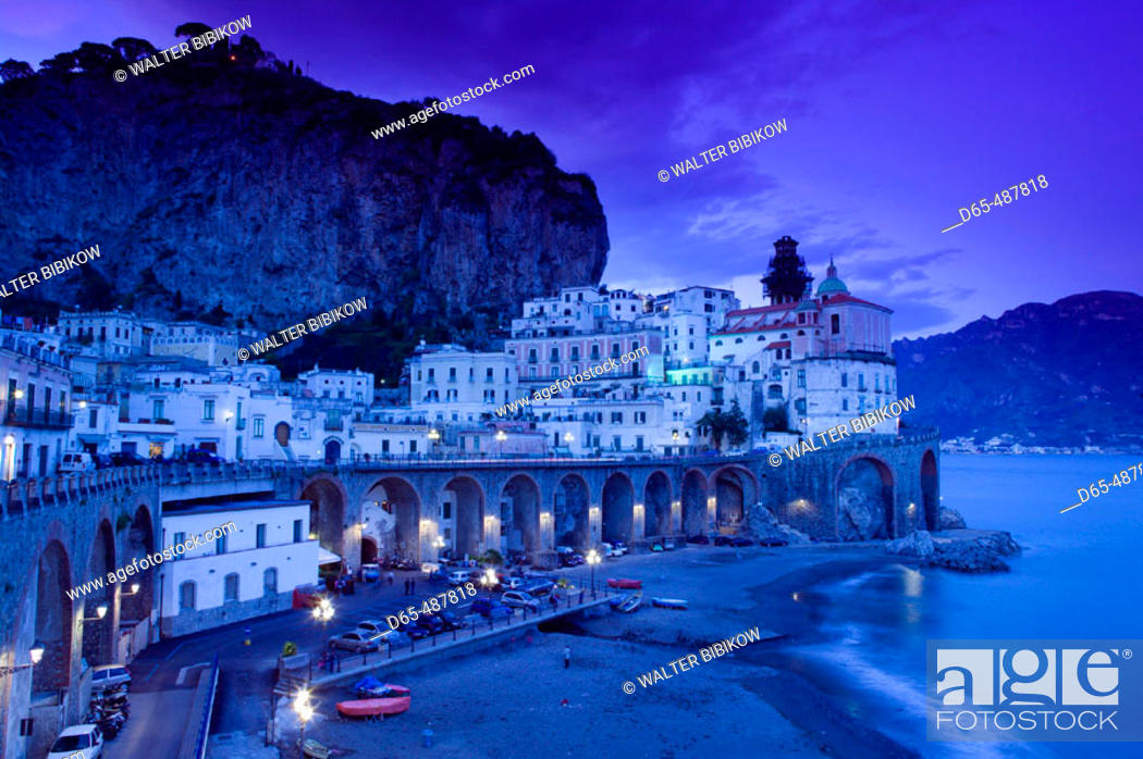 Stock Photo: Evening Town View. Atrani. Amalfi coast. Campania. Italy.