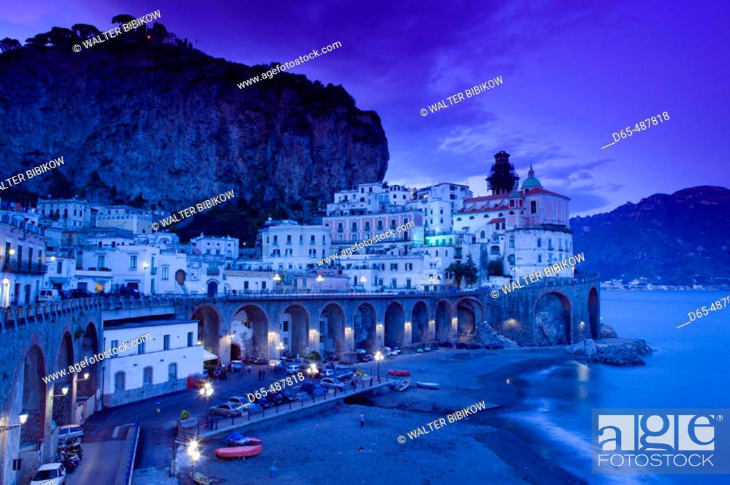 Stock Photo: Evening Town View. Atrani. Amalfi coast. Campania. Italy.
