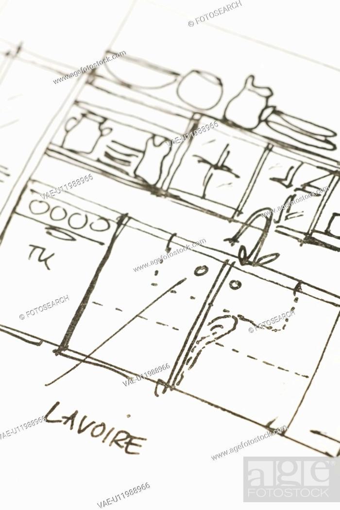 Stock Photo: Arrow Sign, Close-Up, Bowl, Blueprint, Alphabet.