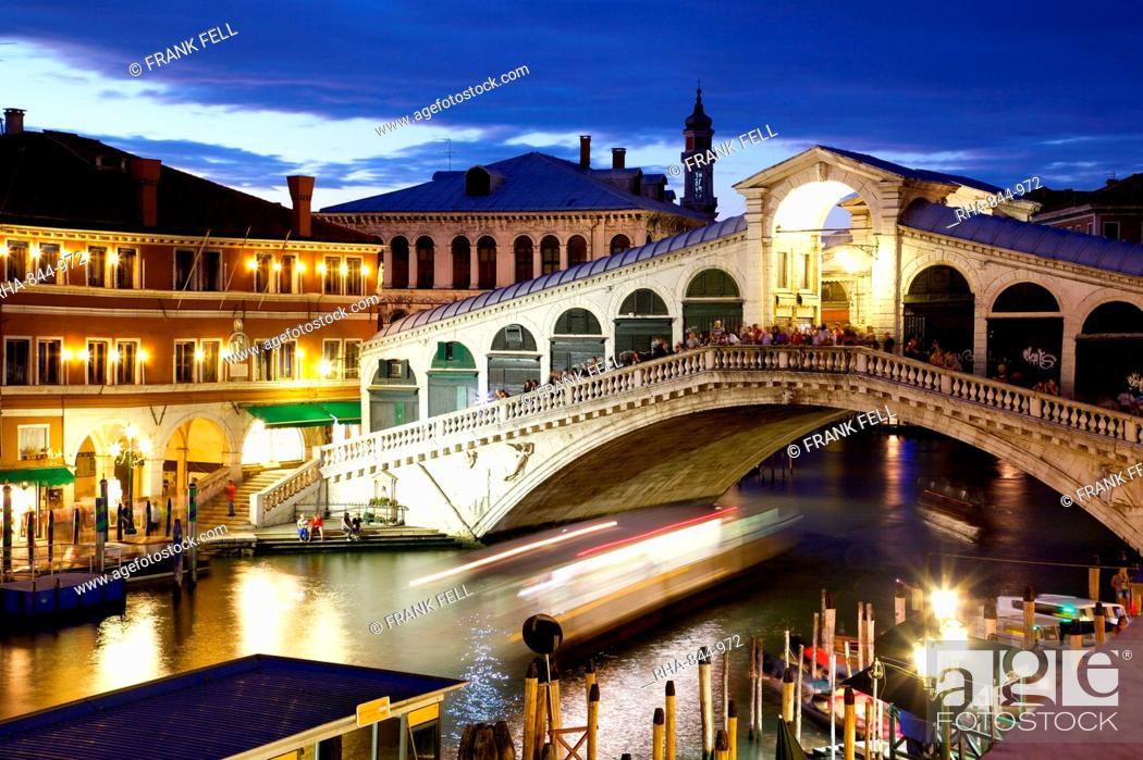 Stock Photo: Rialto Bridge at dusk, Venice, UNESCO World Heritage Site, Veneto, Italy, Europe.