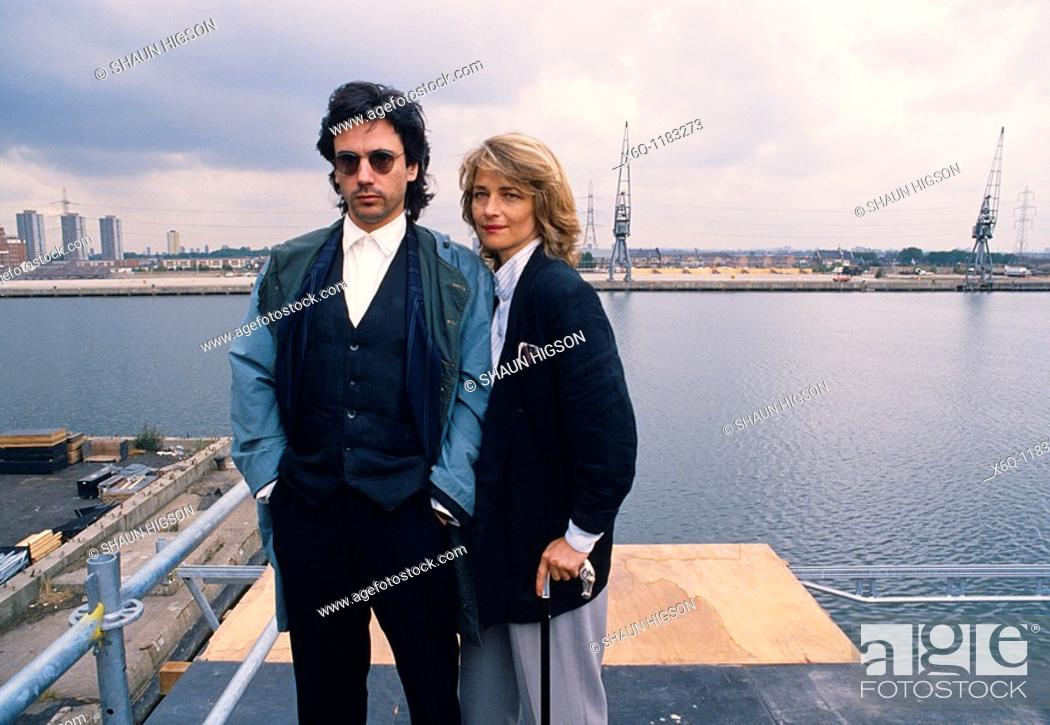 Imagen: Jean Michel Jarre and Charlotte Rampling in the Isle of Dogs docklands in London in England in Great Britain in the United Kingdom UK Europe.