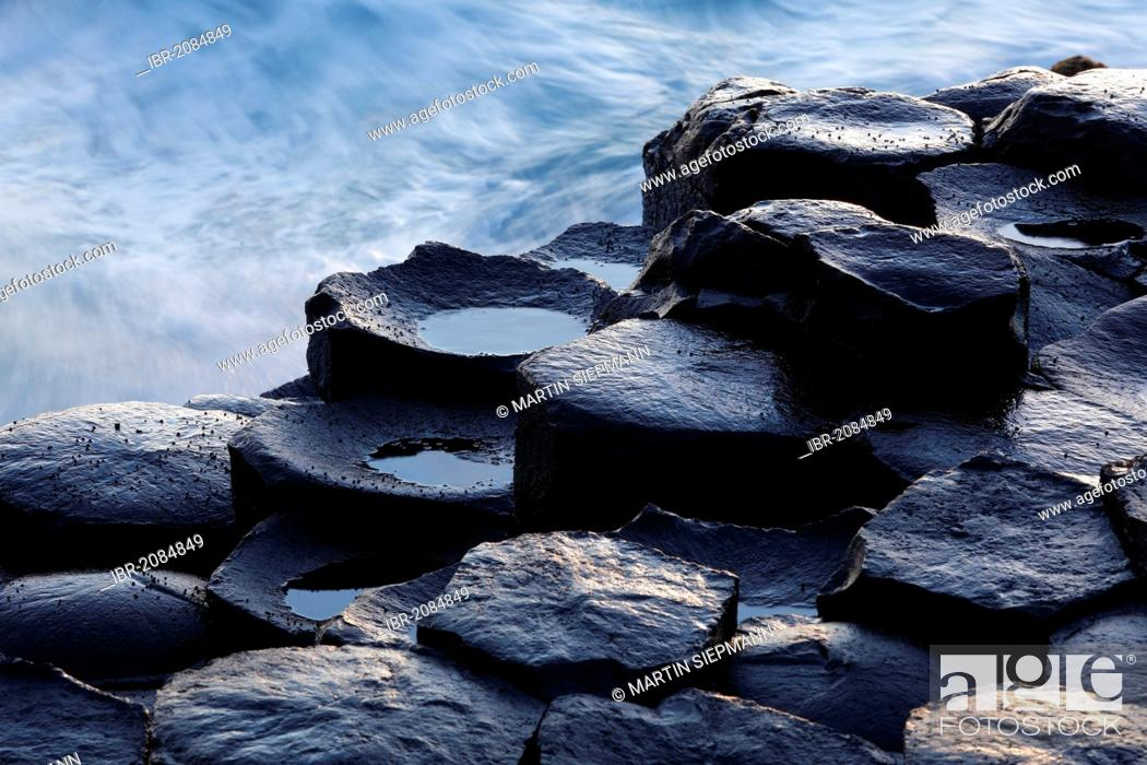 Stock Photo: Basaltic columns, Giant's Causeway, Causeway Coast, County Antrim, Northern Ireland, United Kingdom, Europe.