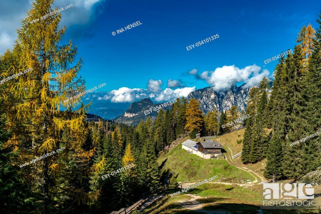 Stock Photo: Panoramic view of the Voelseggspitz, Hammerwand and Mittagskofel mountains and the Baumann Schwaige in the Schlern Rosengarten massif area.