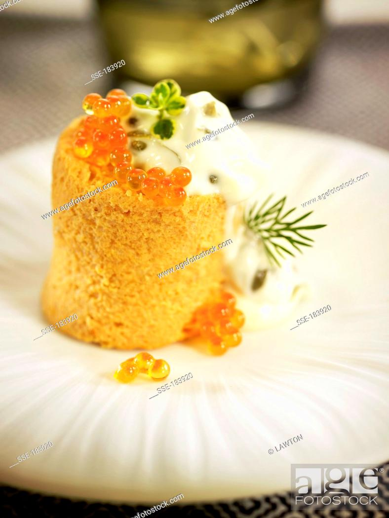 Stock Photo: Fish pudding with leeks,carrots and tomatoes.