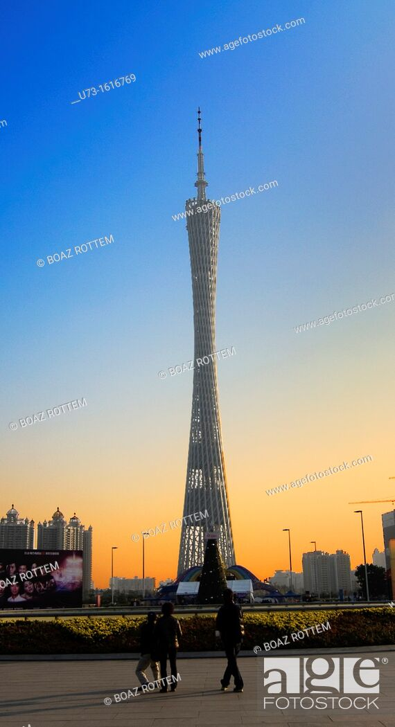 Stock Photo: Guangzhou ( Canton ) tower in the Zhujiang new town district of the city.