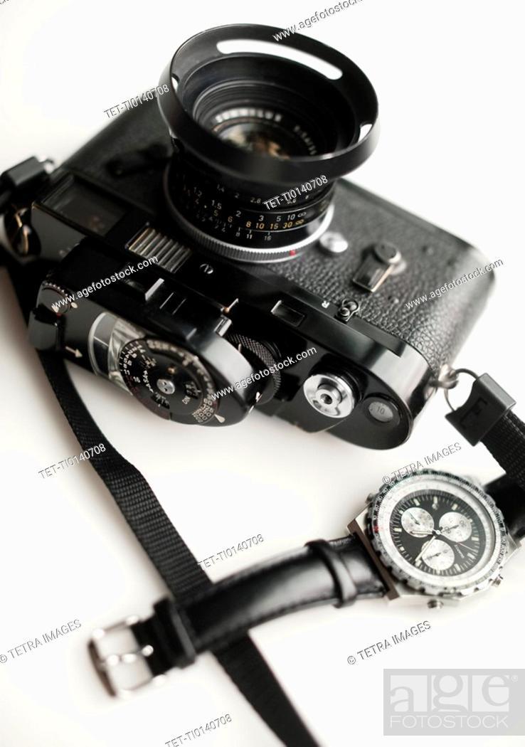 Photo de stock: Classic camera and watch.