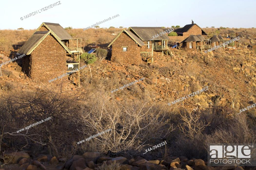 Stock Photo: Tourist huts in Grootberg Lodge, Namibia.
