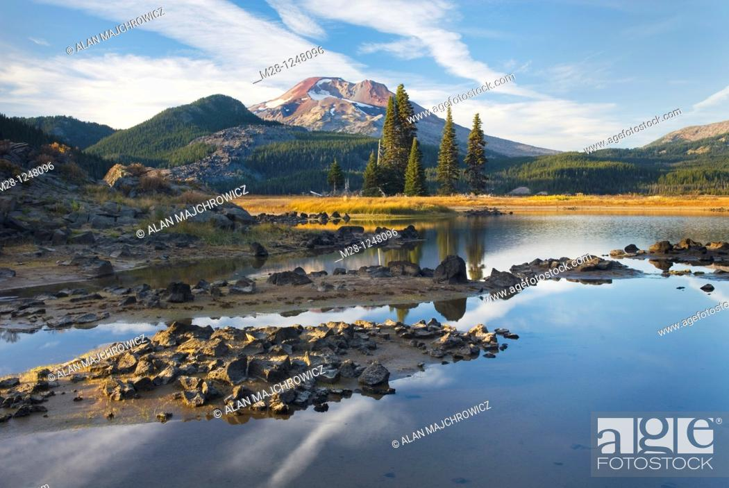 Stock Photo: Sparks Lake and South Sister volcano, Willamette National Forest Oregon.