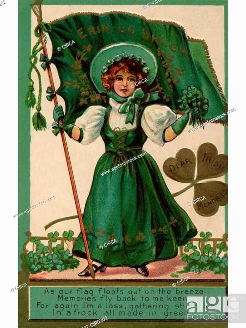 Stock Photo: An Irish poem printed on a vintage card with an illustration of a young girl with shamrocks and a flag.