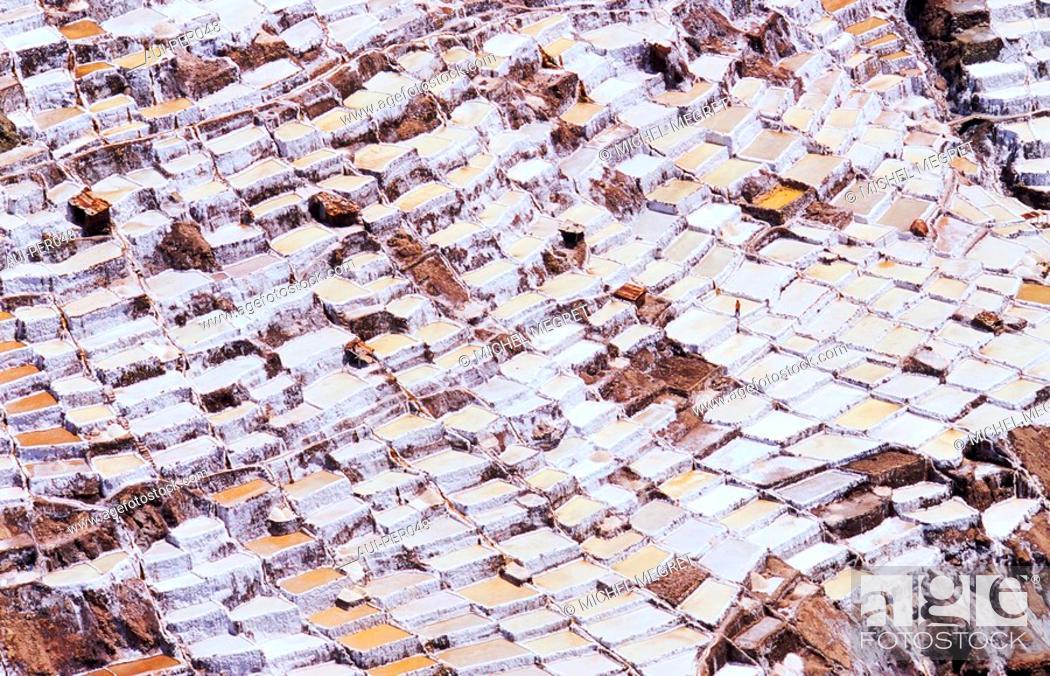 Stock Photo: Peru - The Salines of Maras.