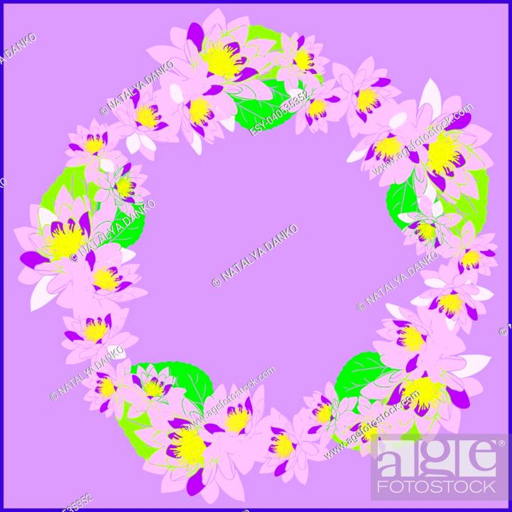 Stock Vector: round wreath with pink water lotus and green leaves on a lilac background, empty space in the middle.