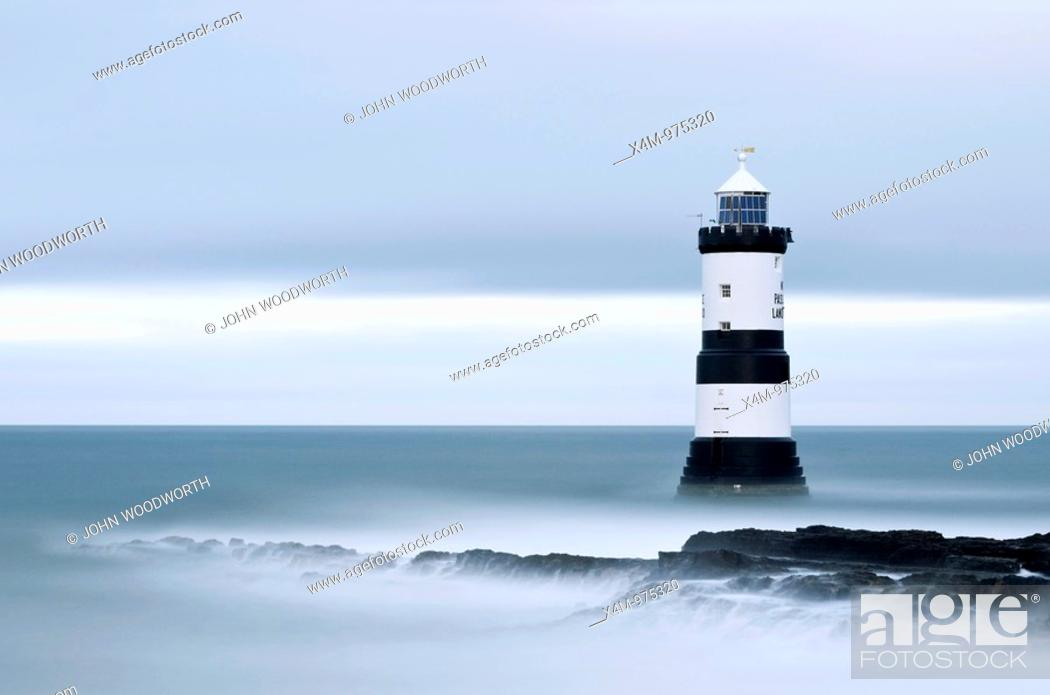 Stock Photo: A view toward Penmon Point lighthouse in Wales.