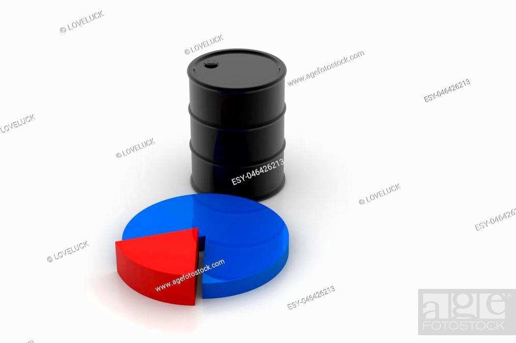 Imagen: Oil barrel with pie chart.