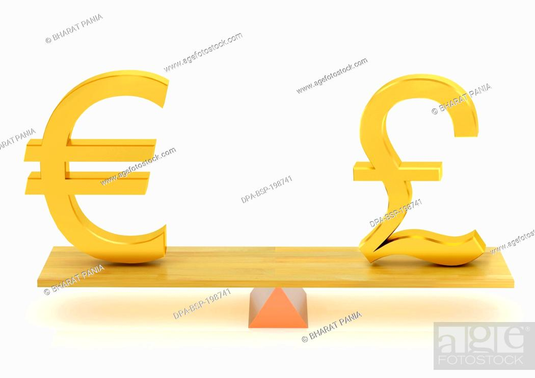 Stock Photo Balancing Euro Currency And United Kingdom Pound India Asia