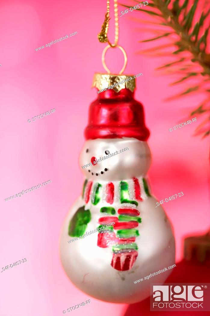 Stock Photo: Snowman shaped Christmas tree ball.