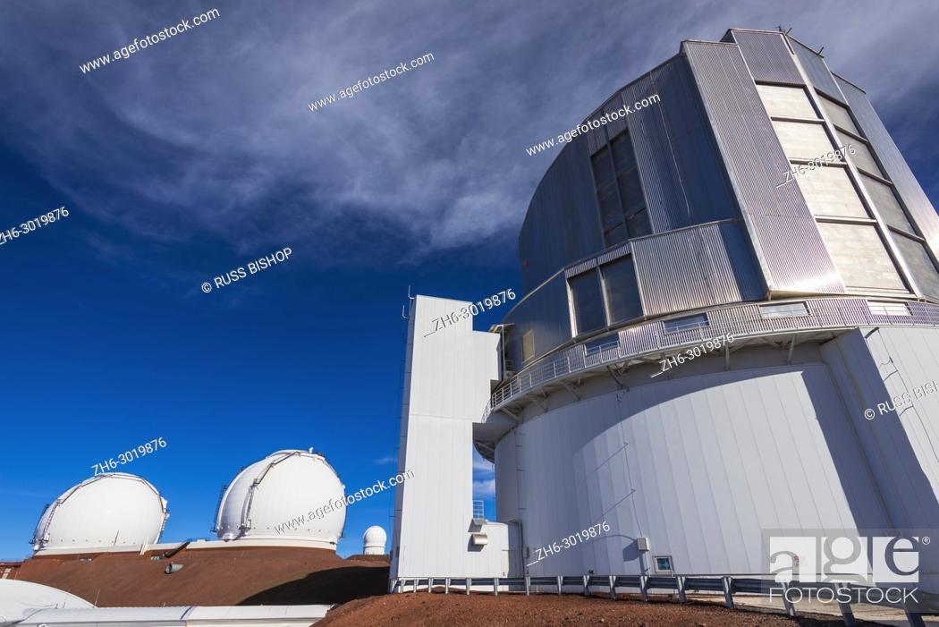 Stock Photo: Observatories on the summit on Mauna Kea, The Big Island, Hawaii USA.