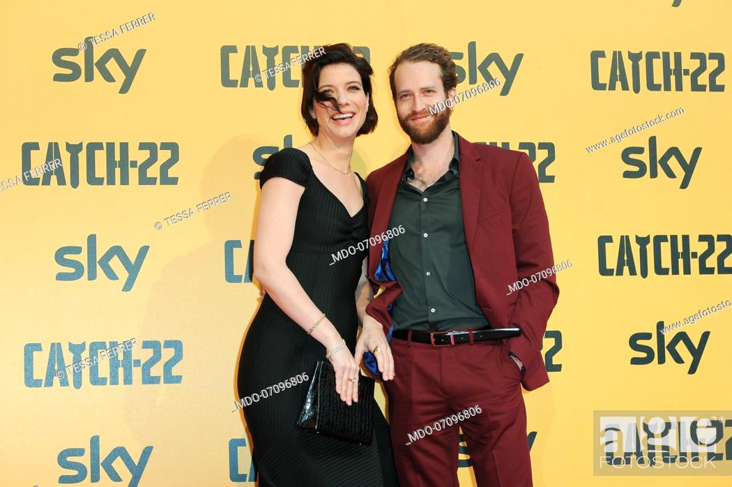 Stock Photo: American actress Tessa Ferrer and her boyfriend attends the premiere of the Sky TV serie Catch-22. Rome (Italy), May 13th, 2019.