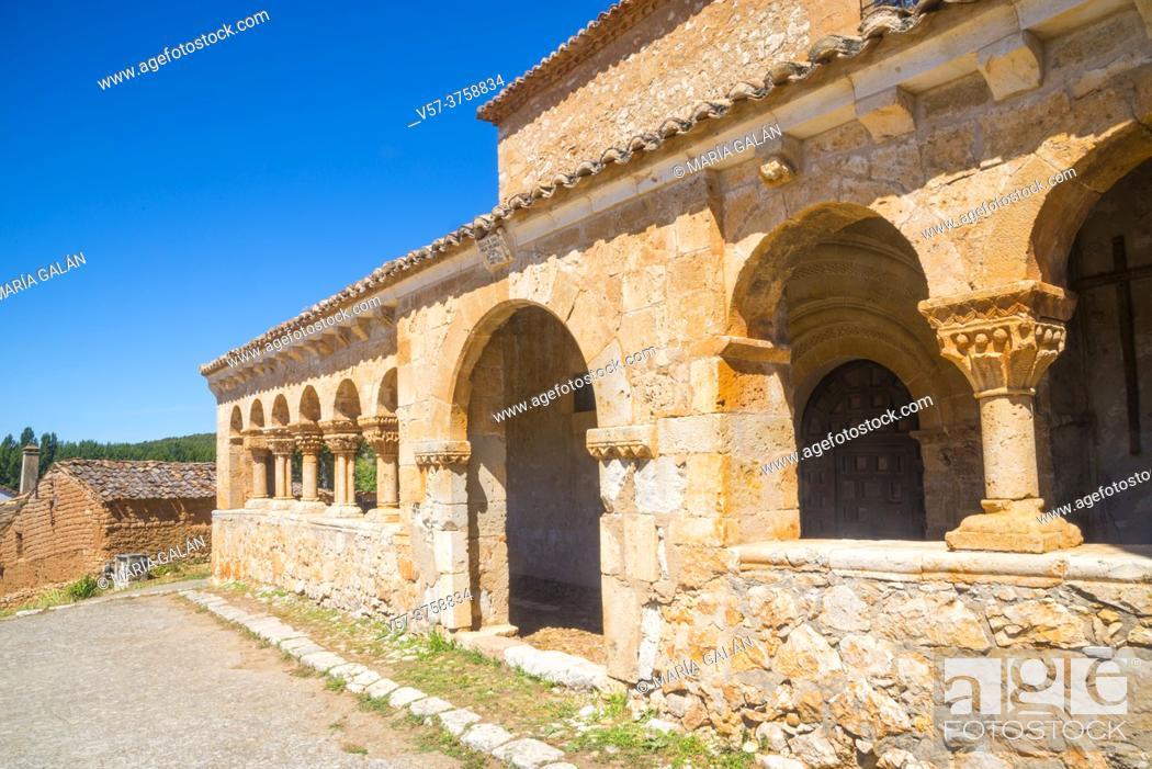 Stock Photo: Atrium of San Miguel Arcangel church. Andaluz, Soria province, Castilla Leon, Spain.