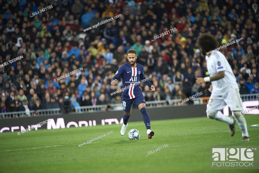 Stock Photo: Neymar (forward; Paris Saint-Germain) in action during the UEFA Champions League match between Real Madrid and Paris Saint-Germain at Santiago Bernabeu Stadium.
