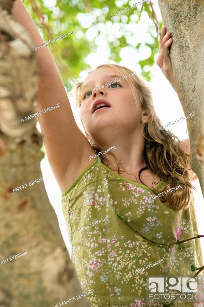Stock Photo: Girl climbing a tree.