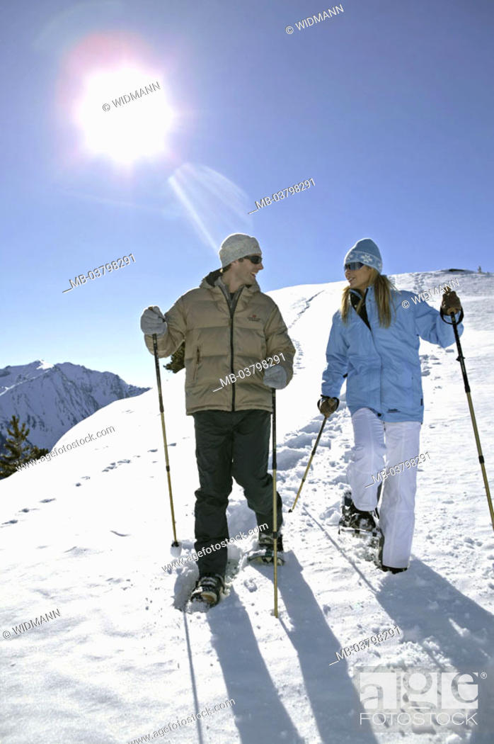 highland, couple, happy, Descent, snowshoe hiking, Deep snow