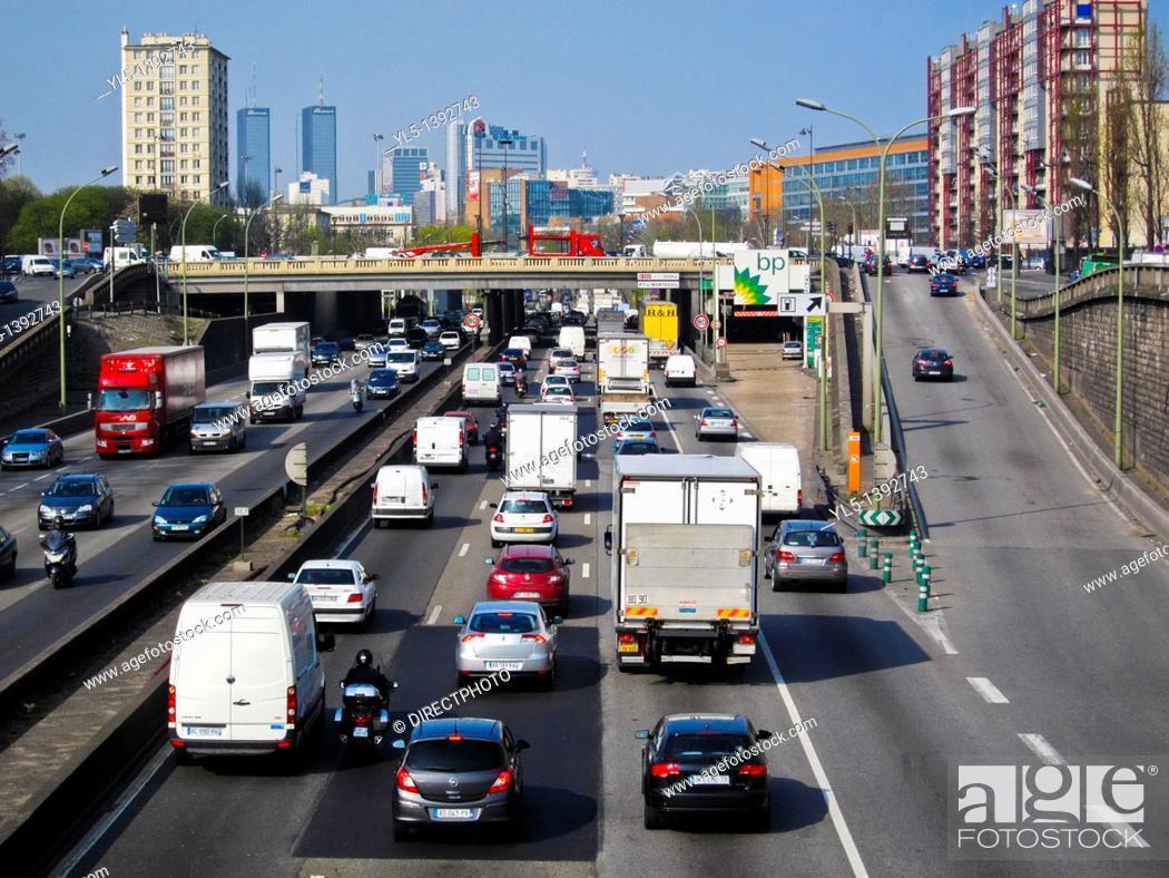 Stock Photo: Paris, France, Traffic on Peripherique Highway, East.