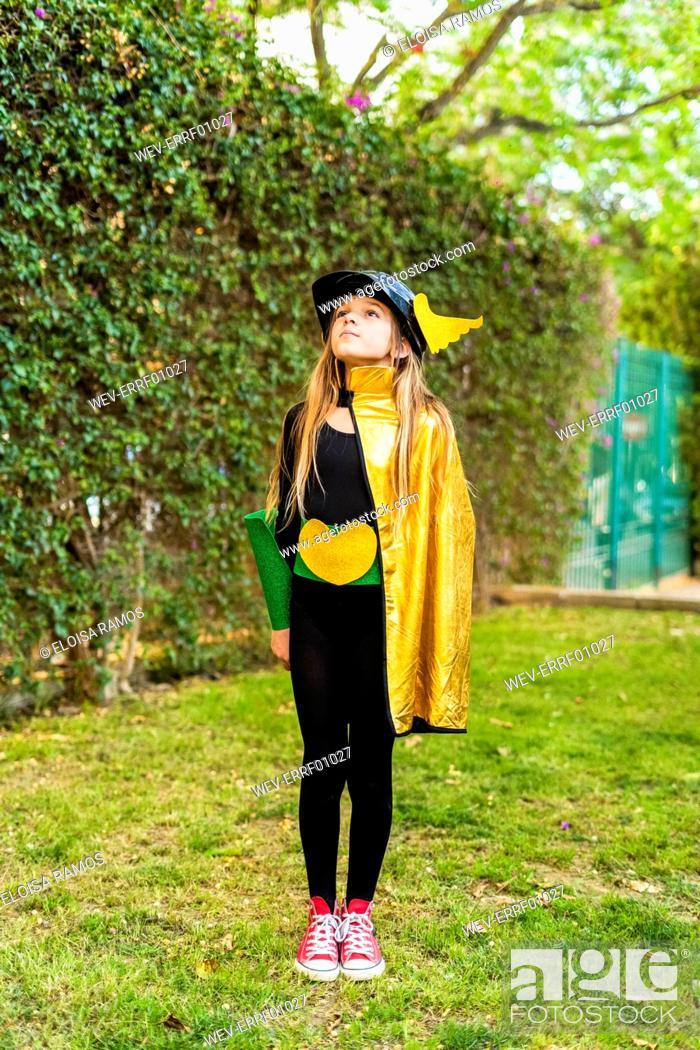 Stock Photo: Girl posing in super heroine costume.
