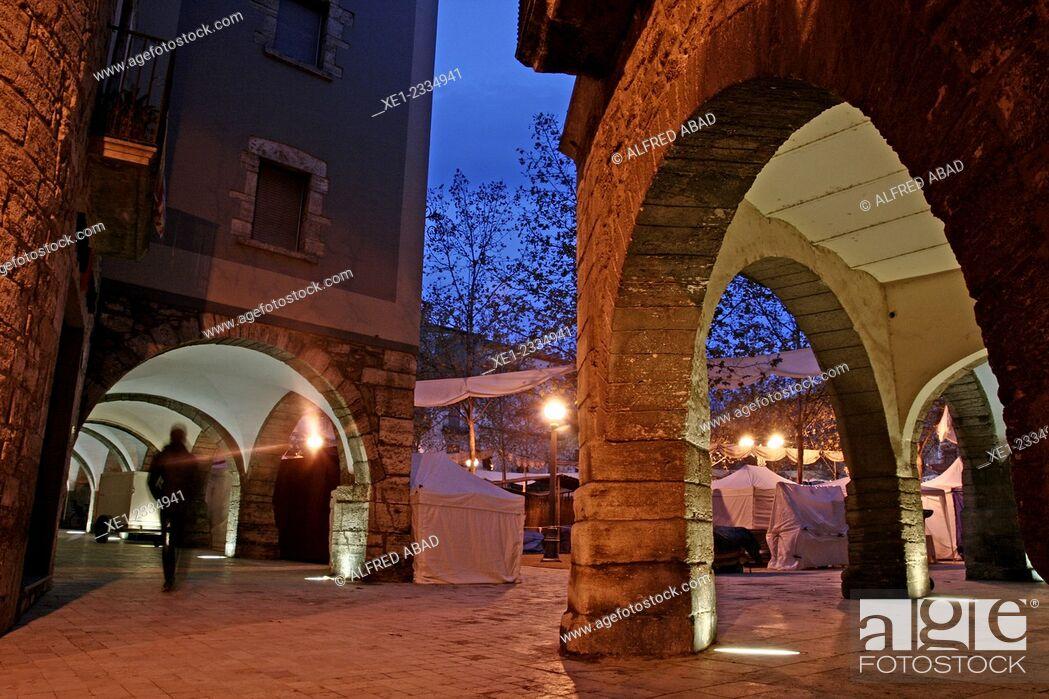 Stock Photo: Arcade, Plaça Major at dawn, Banyoles, Catalonia, Spain.
