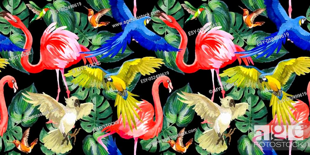 Stock Photo: Sky bird parrot pattern in a wildlife by watercolor style. Wild freedom, bird with a flying wings. Aquarelle bird for background, texture, pattern, frame.