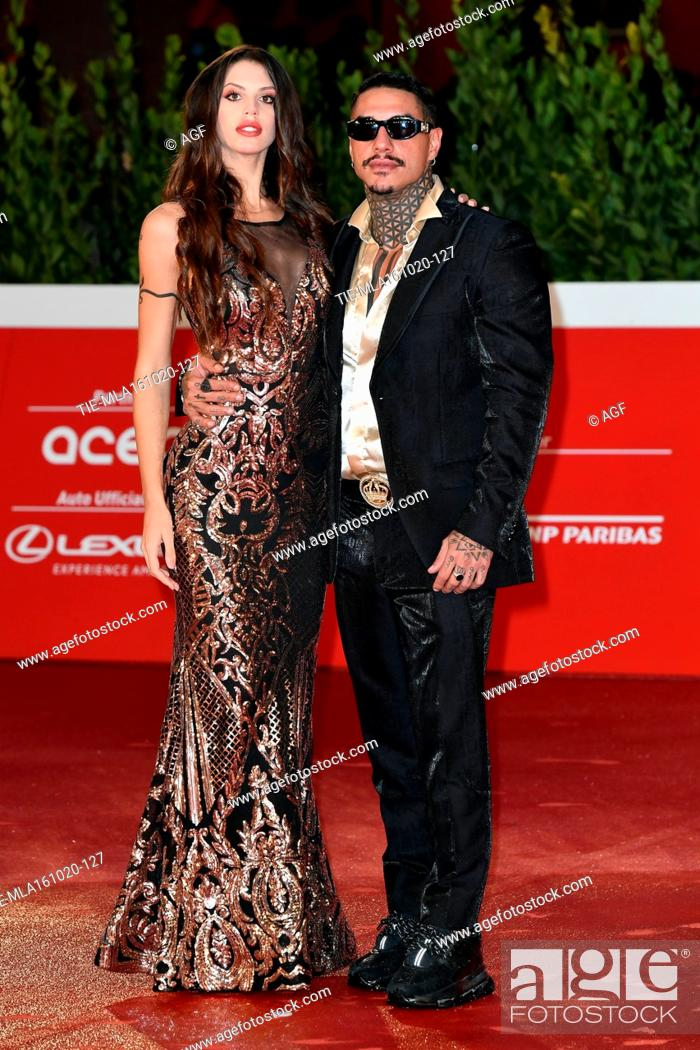 """Stock Photo: Antonella Fiordelisi, Francesco Chiofalo attends the red carpet of the movie """"""""Supernova"""""""" during the 15th Rome Film Festival on October 16, 2020 in Rome, Italy."""