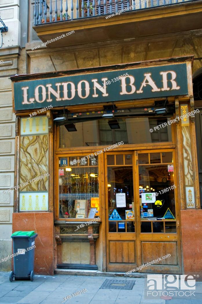 Stock Photo: London Bar exterior Carrer Nou de la Rambla street El Raval district Barcelona Catalunya Spain Europe.