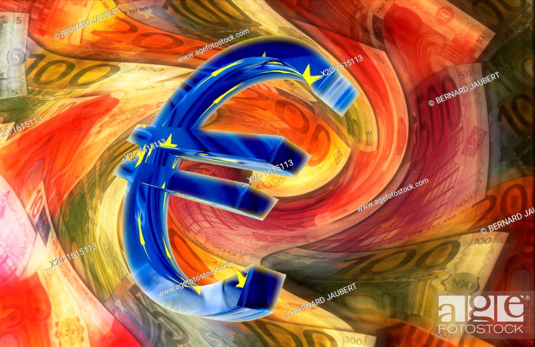 Stock Photo: Euro sign in front of blurred euro banknotes, illustration.