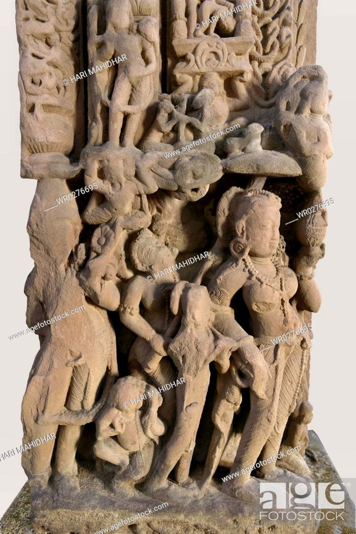 Stock Photo: Door frame with Close - up of erotic human figures and decorative elements depicted , 10th century AD , Kalchurian period , found at Doni Damoh.