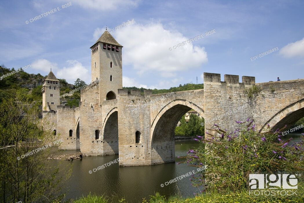 Stock Photo: Historic Pont Valentre fortified bridge over the Lot River at Cahors, Lot, Midi Pyrenees, France.