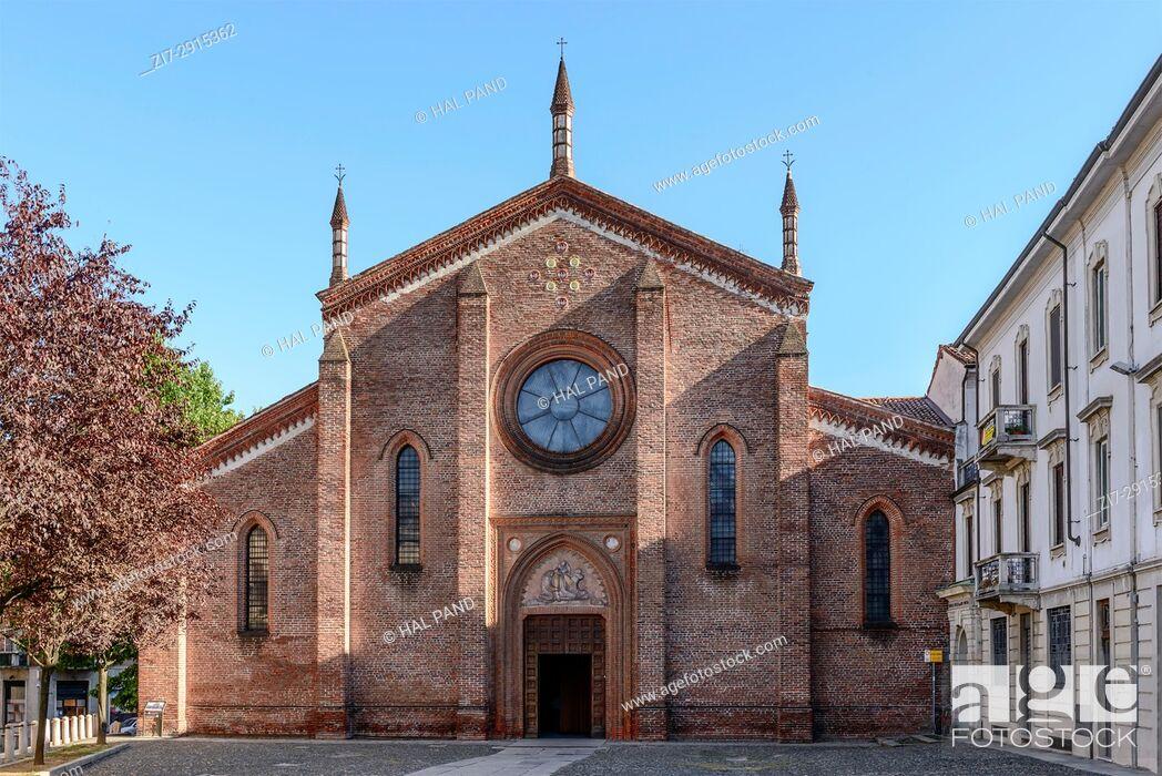 Stock Photo: Romanesque San Cristoforo church facade, shot in a bright summer day at Vigevano, Pavia, Lombardy, Italy.