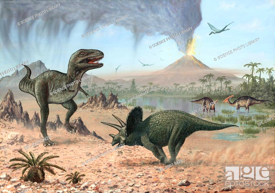 Stock Photo: Late Cretaceous life. Artwork of a number of different prehistoric creatures that existed during the Late Cretaceous period between 99 and 65 million years ago.
