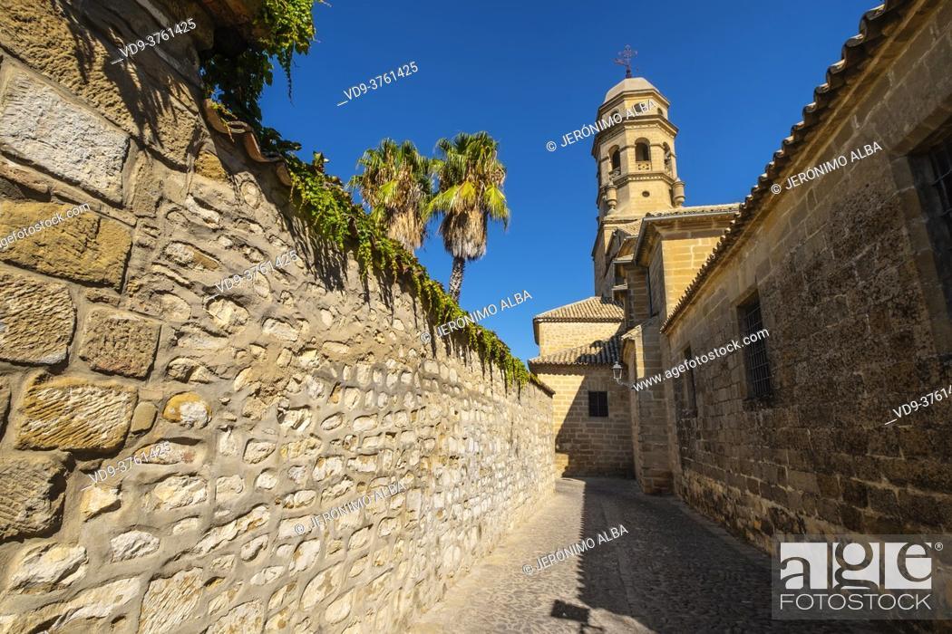 Imagen: Cobbled streets at Catedral de la Natividad de Nuestra Señora. Renaissance style cathedral in Plaza Santa Maria. Baeza, Jaén province.